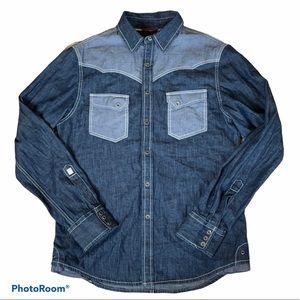 Guess Denim Button Up Western Shirt Medium